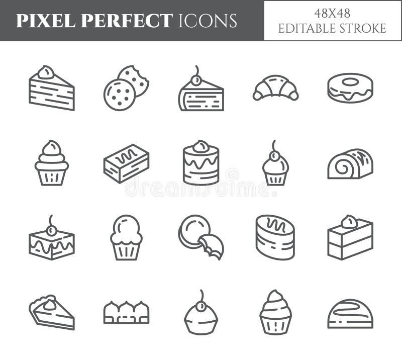 Cakes en koekjes perfecte dunne de lijnpictogrammen van het themapixel Reeks elementen van pastei, brownie, koekje, tiramisu, bro stock illustratie