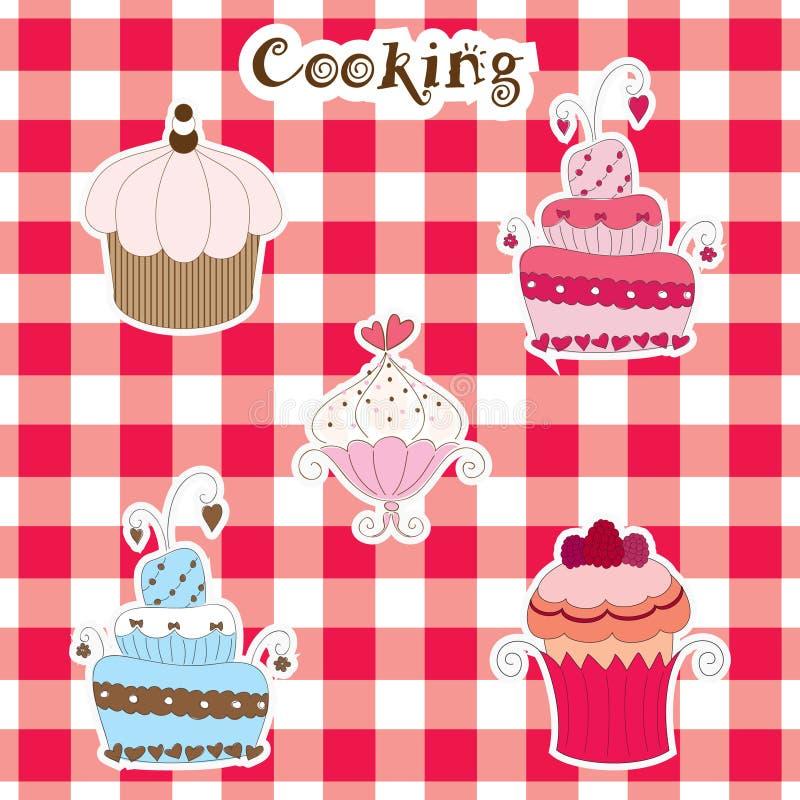 Cakes en muffins vector illustratie
