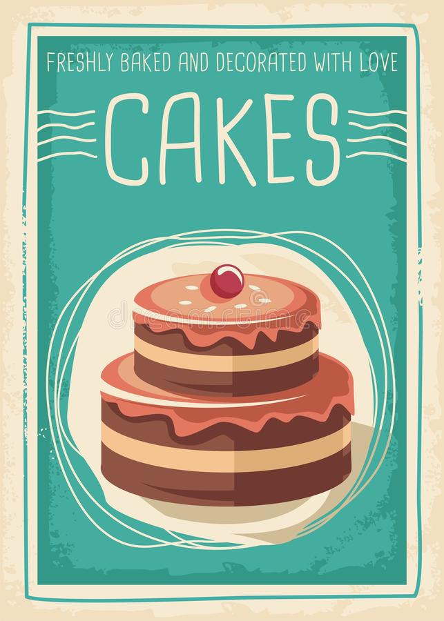 Cakes en snoepjes retro afficheontwerp royalty-vrije illustratie