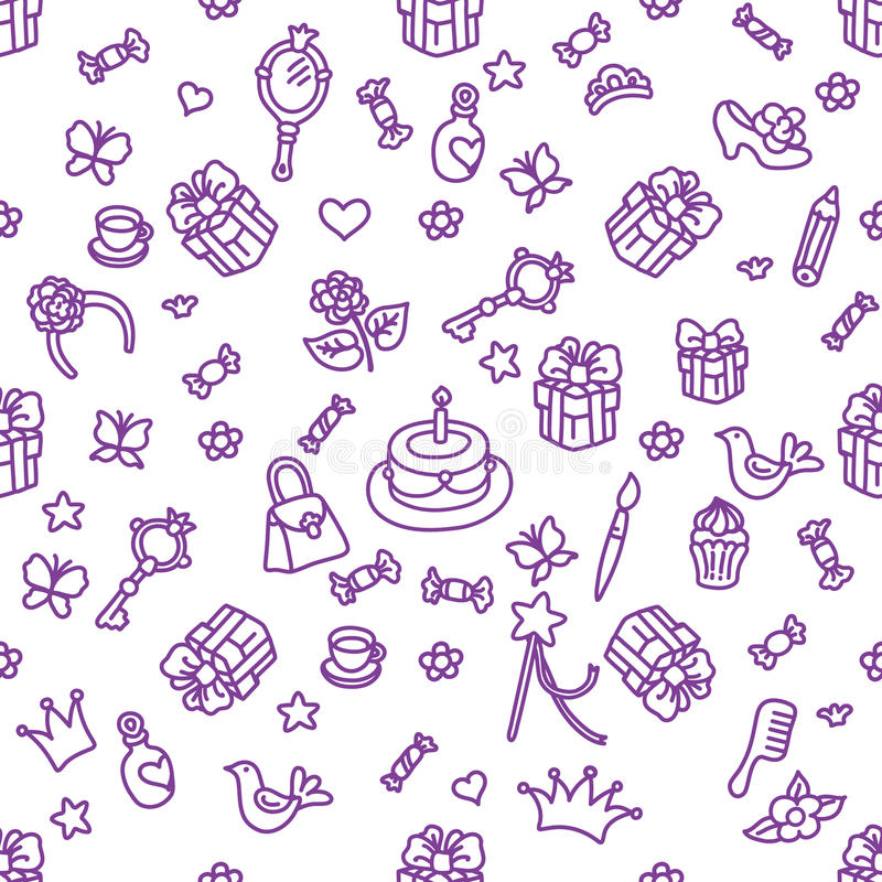 Cakes and gifts, part of ornament. Birthday cakes and gifts, part of ornament on white background vector illustration