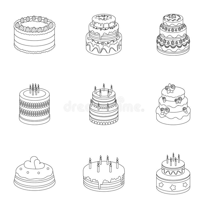 Cakes for the holidays. A set of different sweets. Beautifully decorated cakes and muffins.Cakes icon in set collection. On outline style vector symbol stock stock illustration