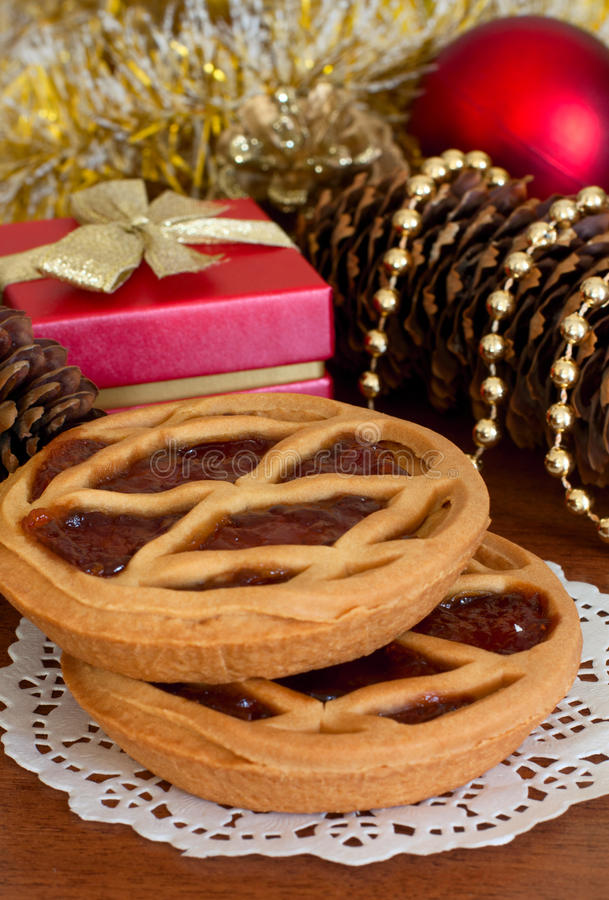 Cakes With Jam And Christmas Decorations Stock Photography
