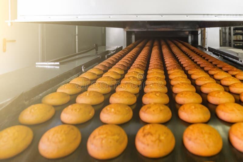 Cakes op automatische transportband of lijn, proces om in banketbakkerij culinaire fabriek te bakken of installatie De voedselind stock foto