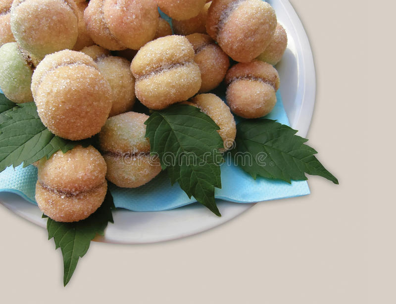 Cakes peach. Cakes with nut name is peach - speciality in Croatia - Dalmatia. Horizontal color photo stock images