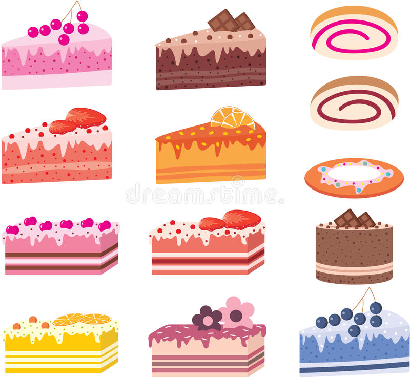 Download Cakes, Pieces Of Pies, Sweets Stock Vector - Image: 22303035