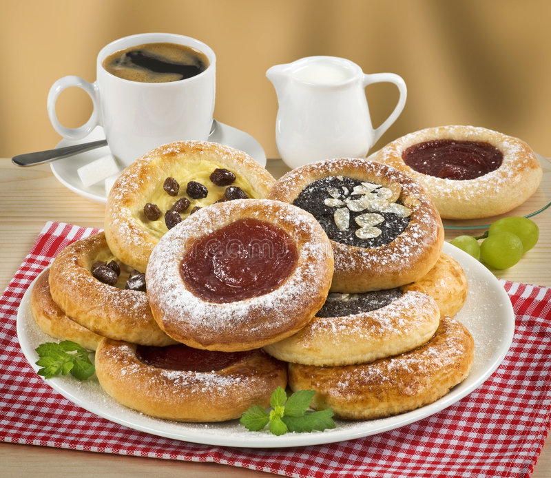 Cakes with Poppyseed, Curd and Jam stock photos