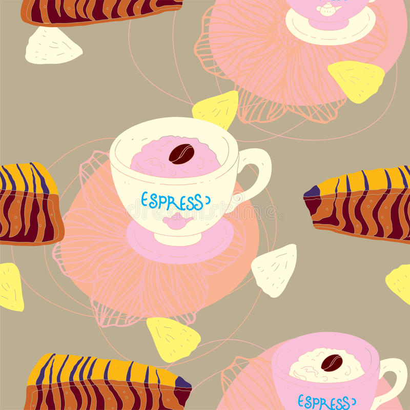 Download Cakes Seamless Pattern With Coffee Cups Stock Vector - Image: 27691750