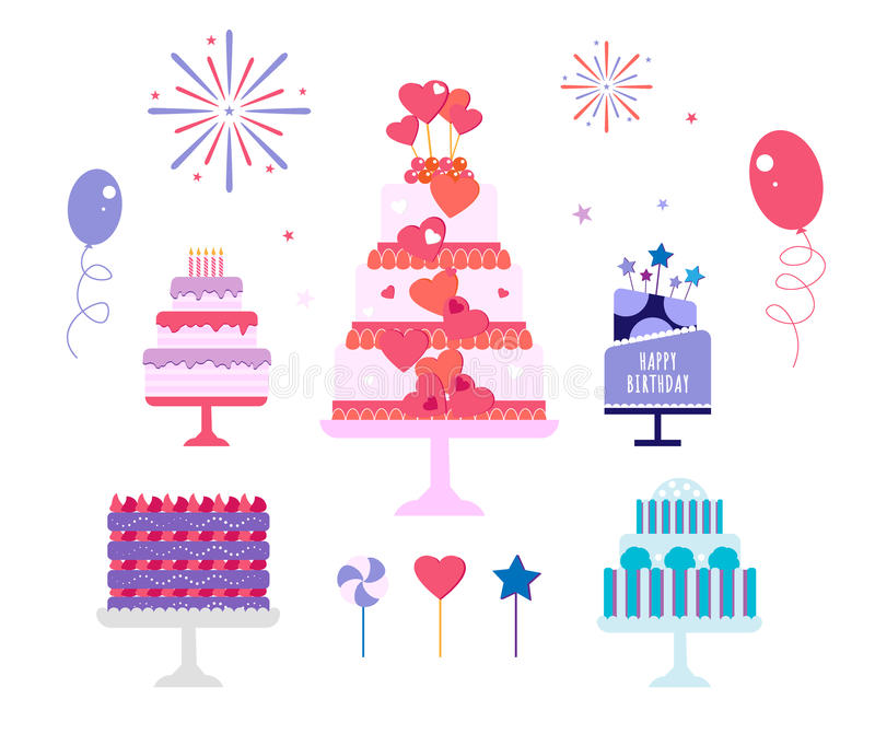 Cakes set, Birthday and wedding. Cakes set. Vector cake icon design element. Birthday cake isolated illustration. balloon fireworks, wedding cake on white vector illustration