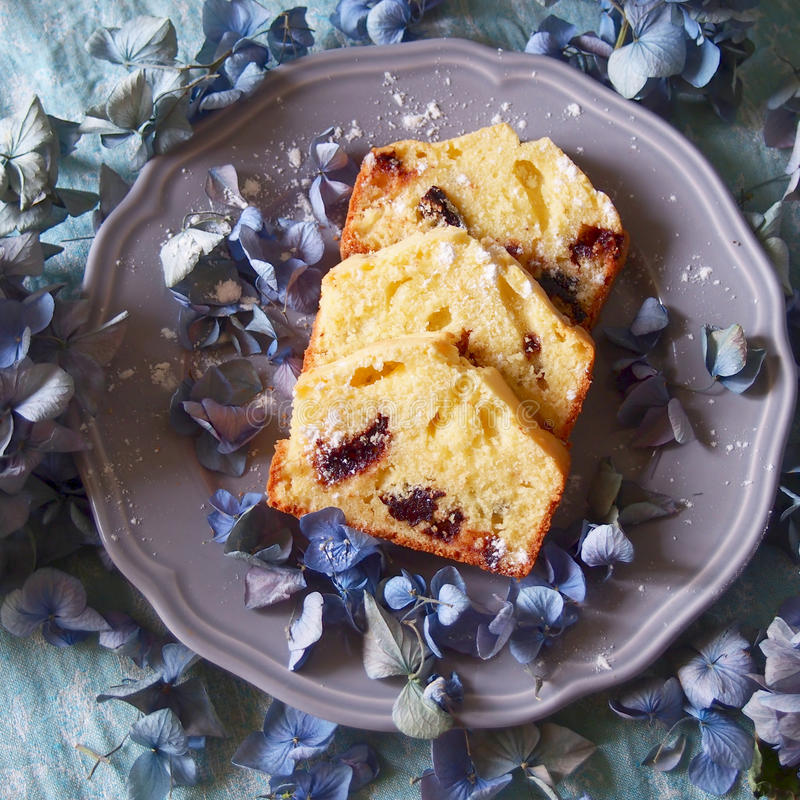 Cakes. Some cakes on a plate with hortensia royalty free stock photography