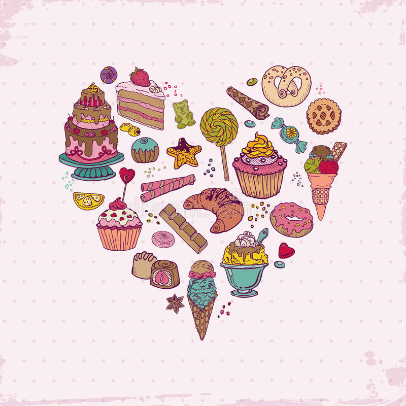 Cakes, Sweets and Desserts. Colorful Background - with Cakes, Sweets and Desserts - hand drawn in vector stock illustration