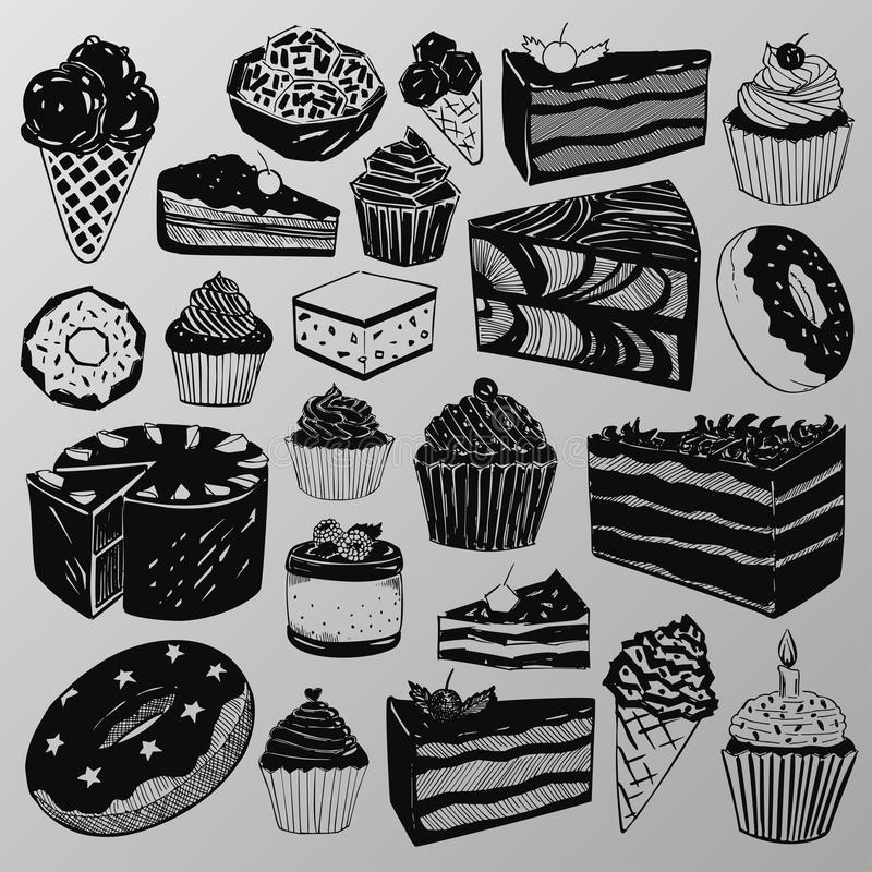 Cakes and sweets stock illustration