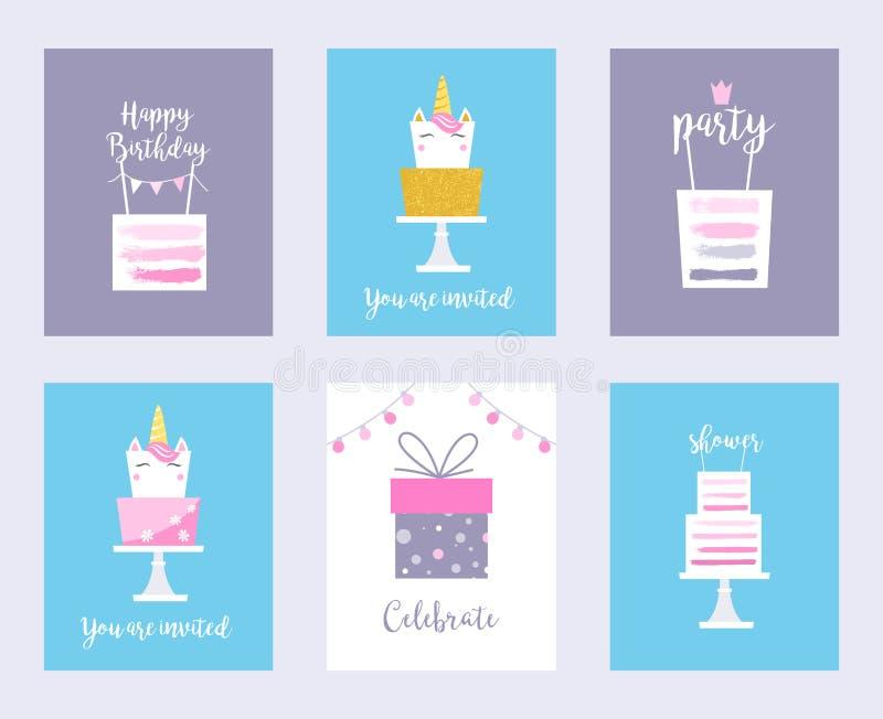 Cakes and Unicorns. Birthday Cards, Shower Invitations royalty free illustration