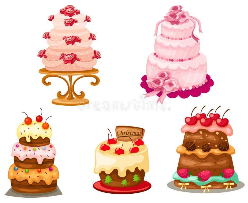 cakeset royaltyfri illustrationer