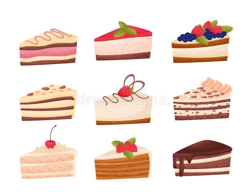Cakesinzameling op witte achtergrond Het concept van de bakkerij stock illustratie
