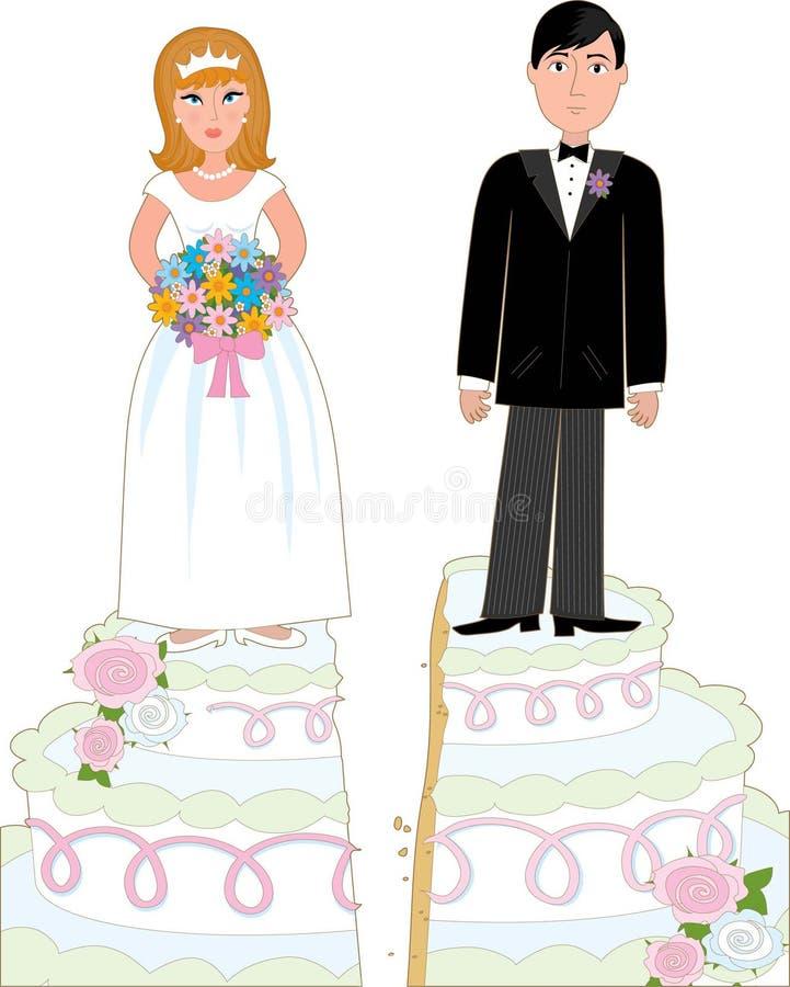 cakeskilsmässa stock illustrationer