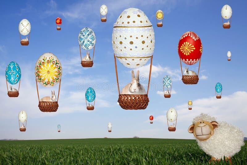 Cakle, balony, króliki i niebo, zdjęcie royalty free