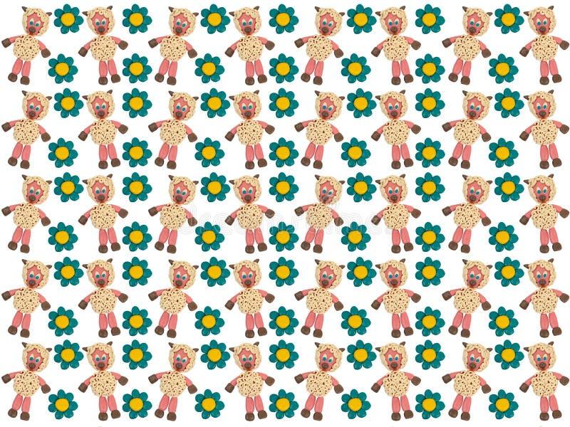 Cakle wśród kwiatów Plasteliny wzorowanie Tło obraz royalty free