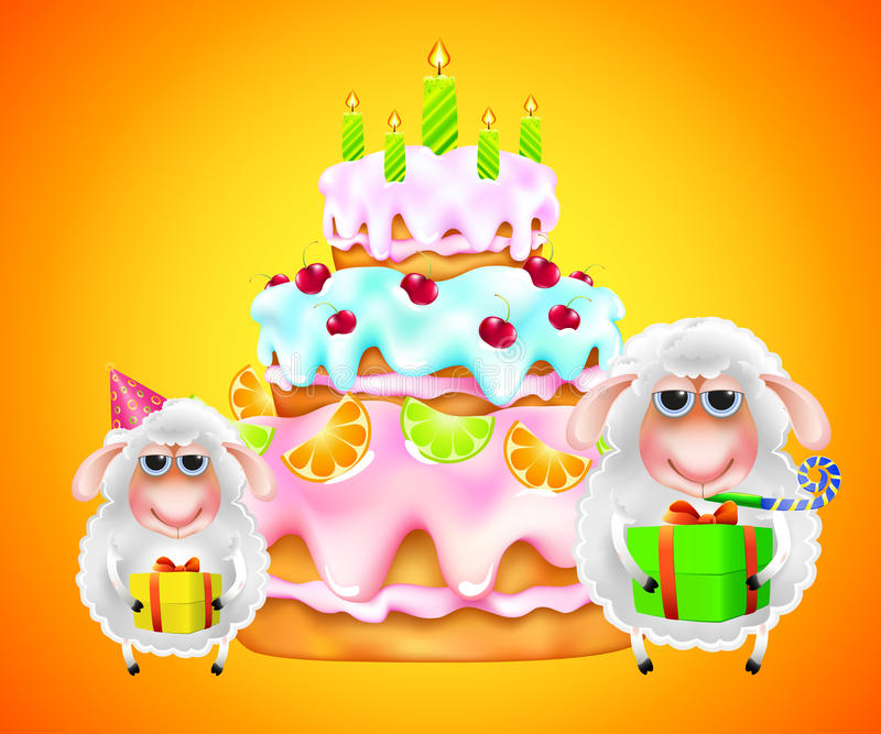 Cakle z prezentem i urodzinowym tortem ilustracja wektor