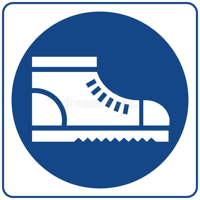 Calçados da segurança do desgaste As botas protetoras da segurança devem ser vestidas, sinal imperativo ilustração stock