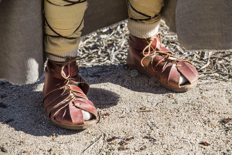 Calçados usados por inhabitans dos pre-romanos da península ibérica fotografia de stock