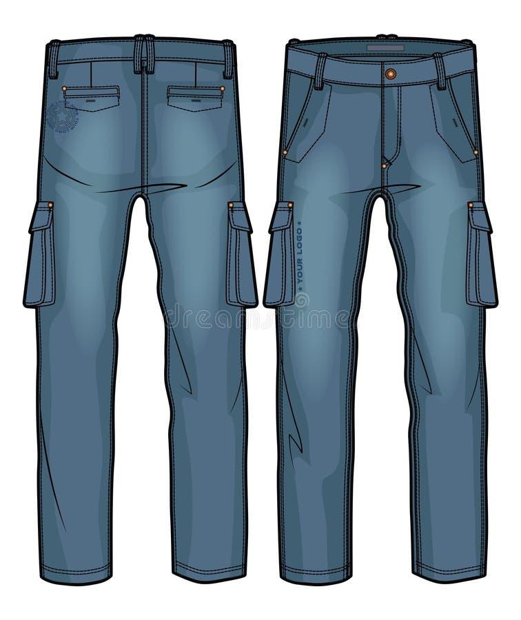 Calças da carga da sarja de Nimes ilustração do vetor