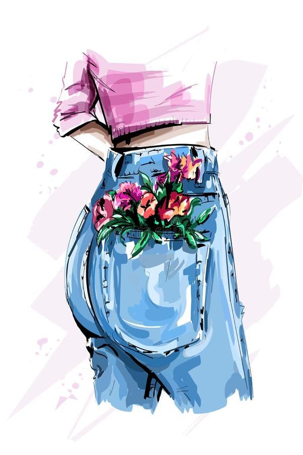 Calças de brim altas à moda da parte traseira da cintura Burro do ` s das mulheres na calças de ganga apertada Flores no bolso ilustração stock