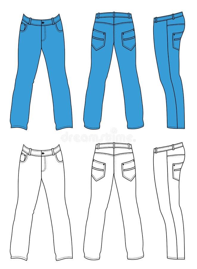 Calças de brim do homem azul (parte dianteira, parte traseira, vistas laterais) ilustração do vetor
