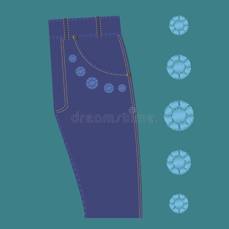 Calças de brim do projeto do cristal de rocha do teste padrão ilustração royalty free
