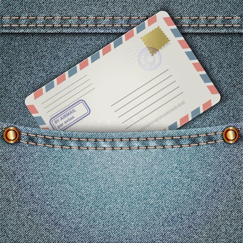 Calças de brim e envelope ilustração do vetor