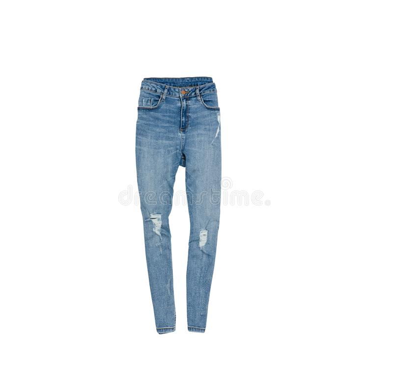 Calças de brim rasgadas azul conceito elegante Isolado Backgro branco imagem de stock