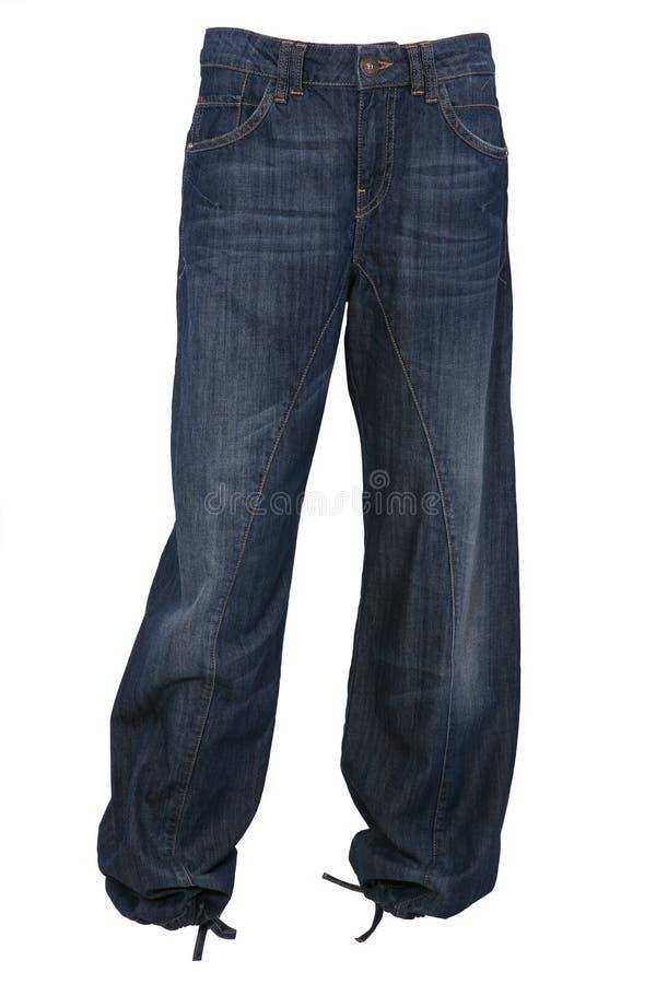 Calças flácidos das calças de brim imagens de stock