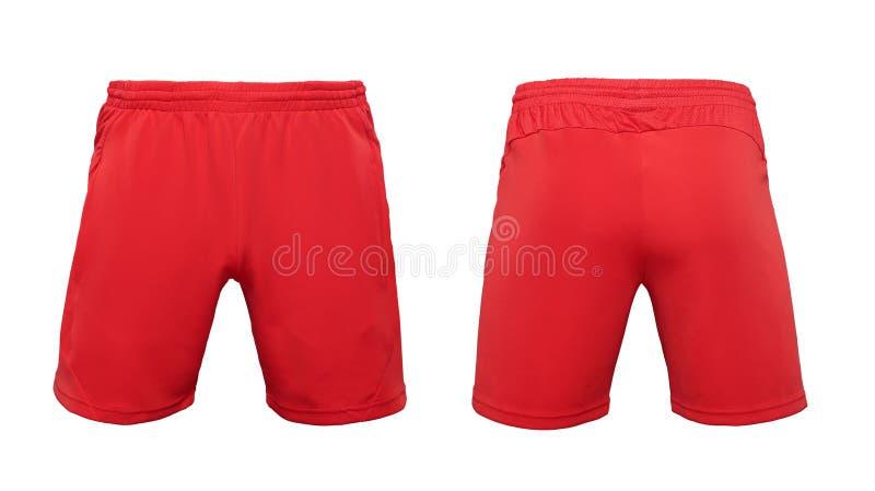 Calças vermelhas curtos do pugilista isoladas no fundo branco imagens de stock