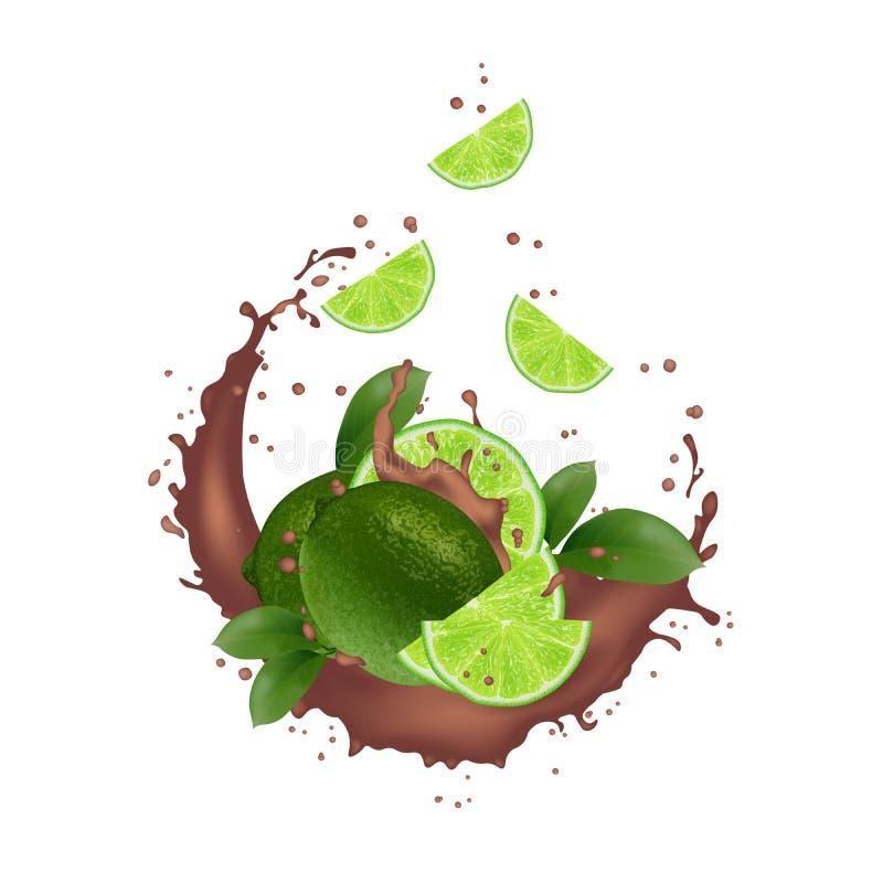 Cal fresca con el ejemplo realista del chapoteo Rebanadas que caen en el jugo, leche, chocolate libre illustration
