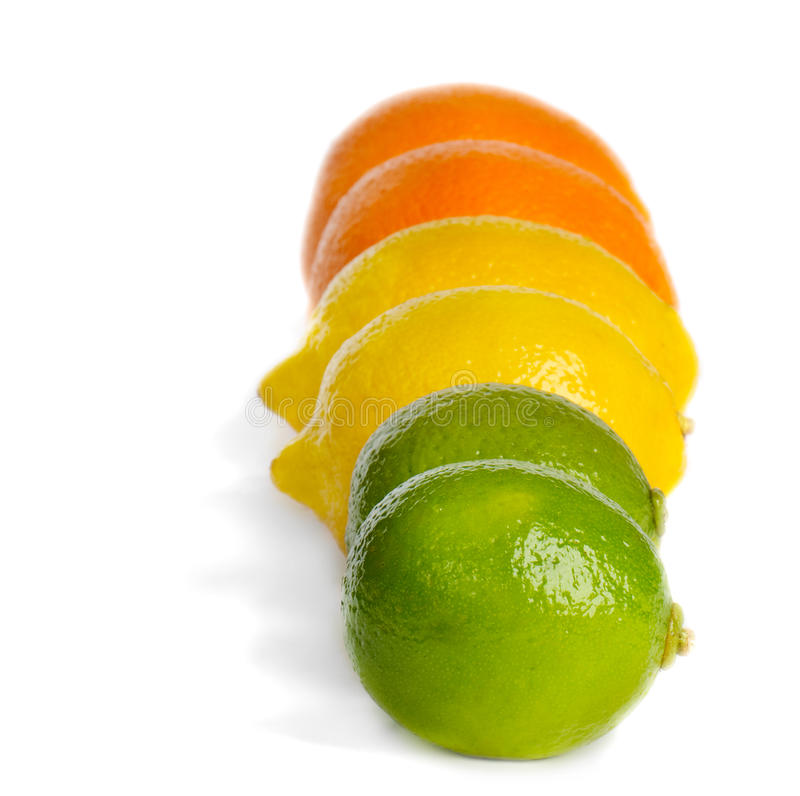 Cal, limão e laranja fotos de stock royalty free