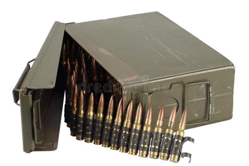 .30 Cal Metal Ammo Can with ammunition belt. Isolated on white stock photography