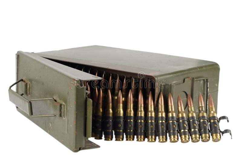 .30 Cal Metal Ammo Can with ammunition belt. Isolated on white stock photo