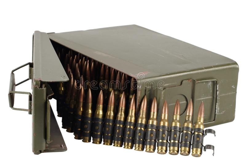.30 Cal Metal Ammo Can with ammunition belt. Isolated on white stock images