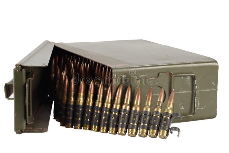 30 Cal Metal Ammo Can com correia da munição fotografia de stock