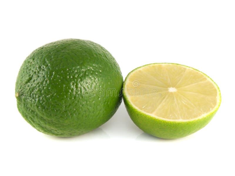 cal verde com metade cortada em um branco fotografia de stock