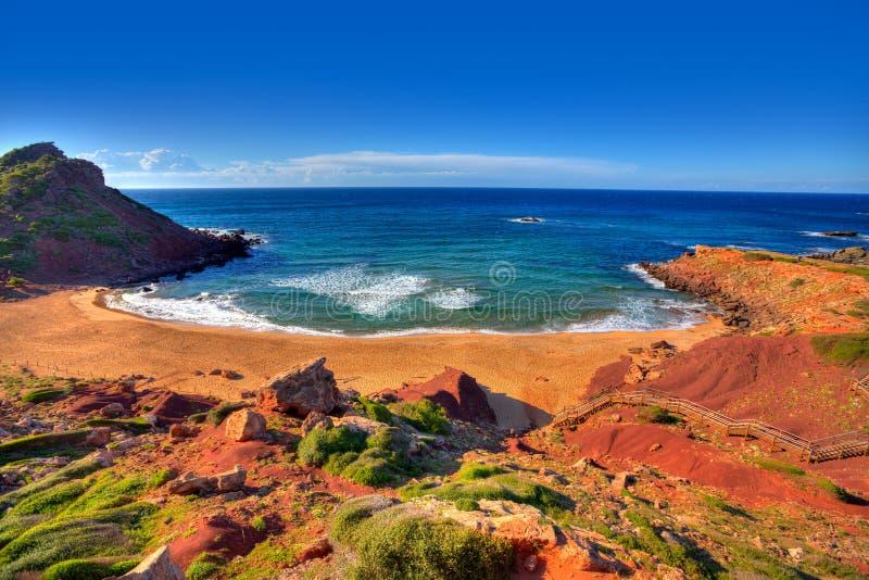 Cala毛发的海滩在巴利阿里群岛的Menorca 库存照片