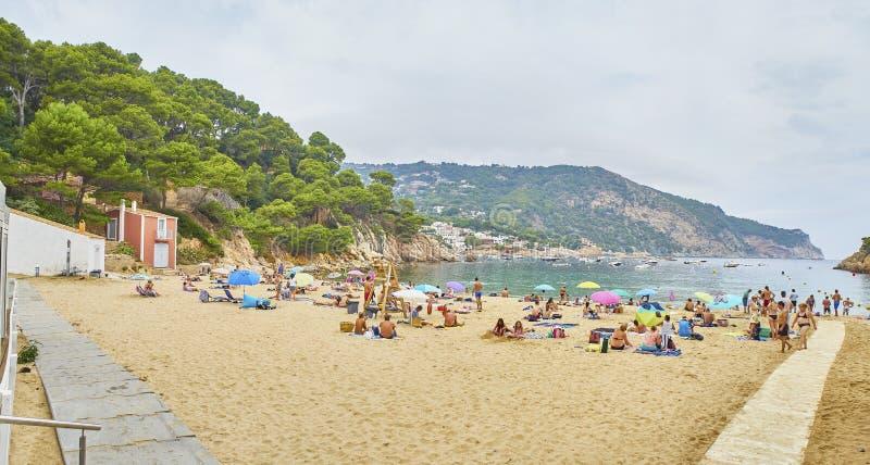 Cala Aiguablava, een strand van Begur, Girona, Costa Brava, Cataloni royalty-vrije stock foto's