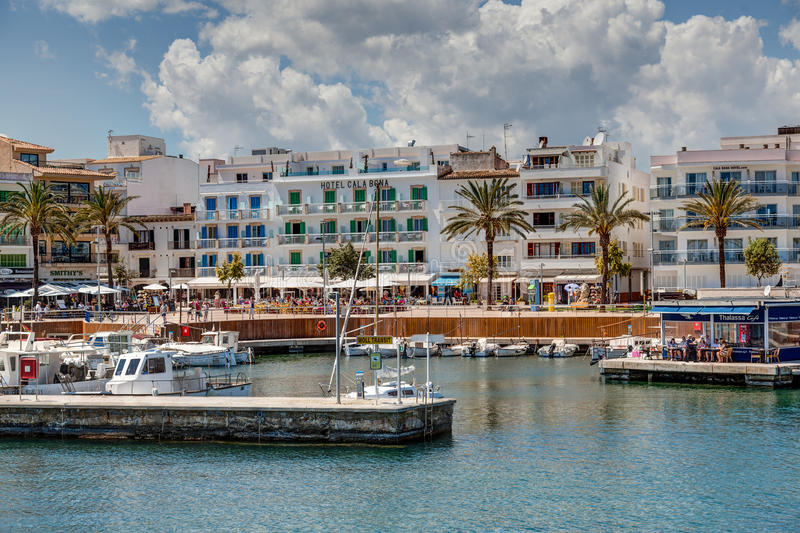 Cala Bona, Majroca, Spain - April 24, 2014: A view of the Harbour royalty free stock images