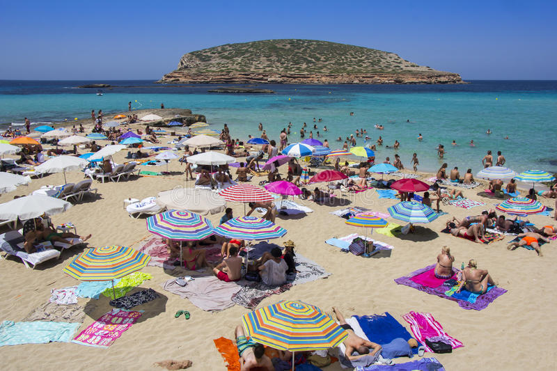 Cala Conta strand i Ibiza royaltyfria bilder