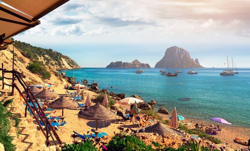 Cala d `霍特海滩 伊维萨岛海岛 库存照片