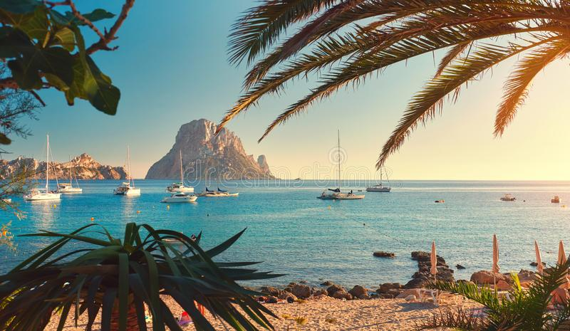 Cala d `霍特海滩 伊维萨岛海岛 免版税图库摄影