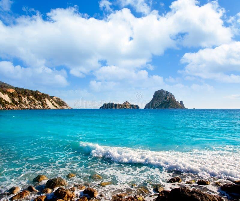 cala d ES hort ibiza海岛vedra视图 免版税库存图片