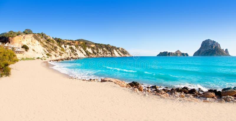 cala d ES hort ibiza海岛vedra视图 免版税库存照片