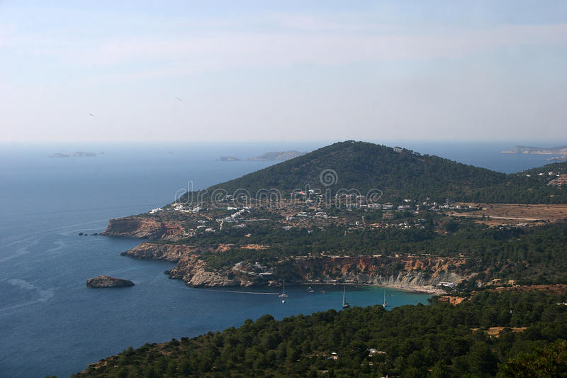 cala d hort ibiza wyspy panoramiczny widok fotografia stock