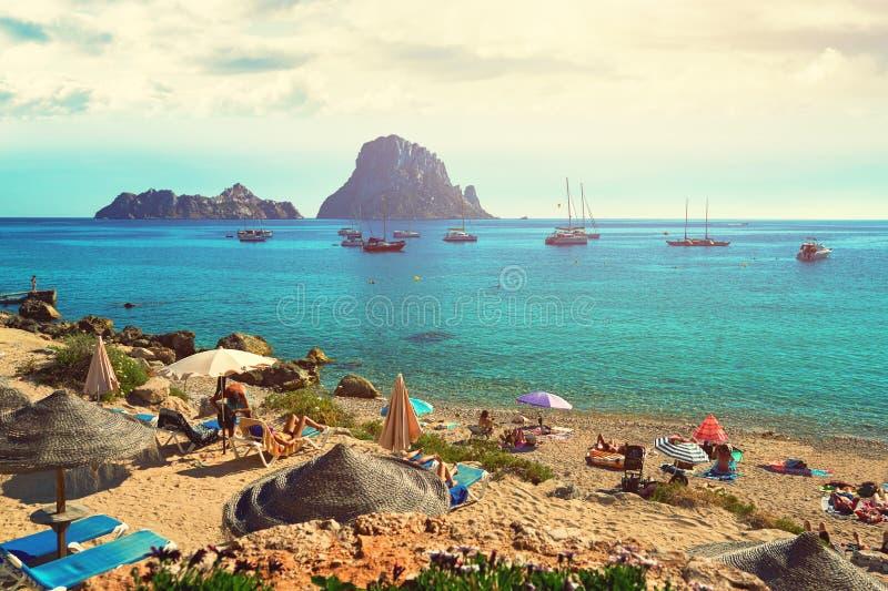 Cala d ` Hort plaża Ibiza wyspa fotografia royalty free