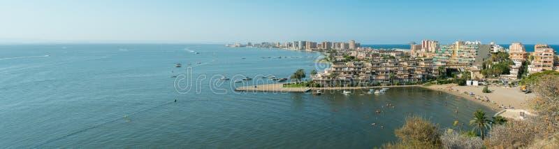 Cala del皮诺Panorama - La Manga Del Mar Menor 免版税库存照片